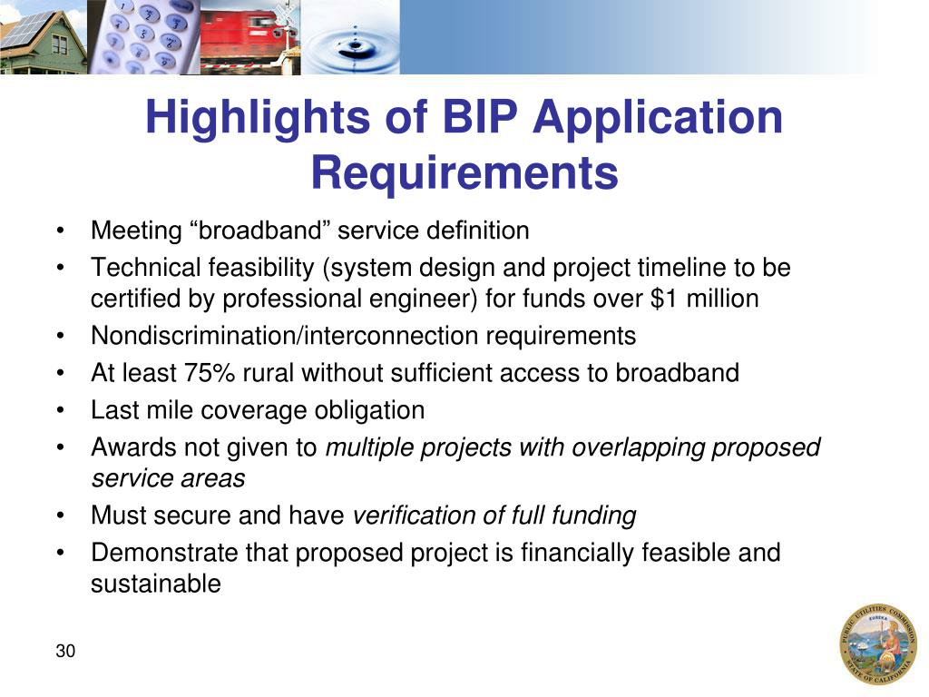 Highlights of BIP Application Requirements