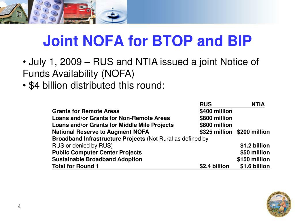Joint NOFA for BTOP and BIP