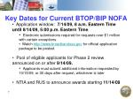 key dates for current btop bip nofa