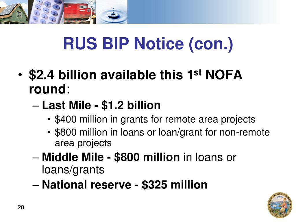 RUS BIP Notice (con.)