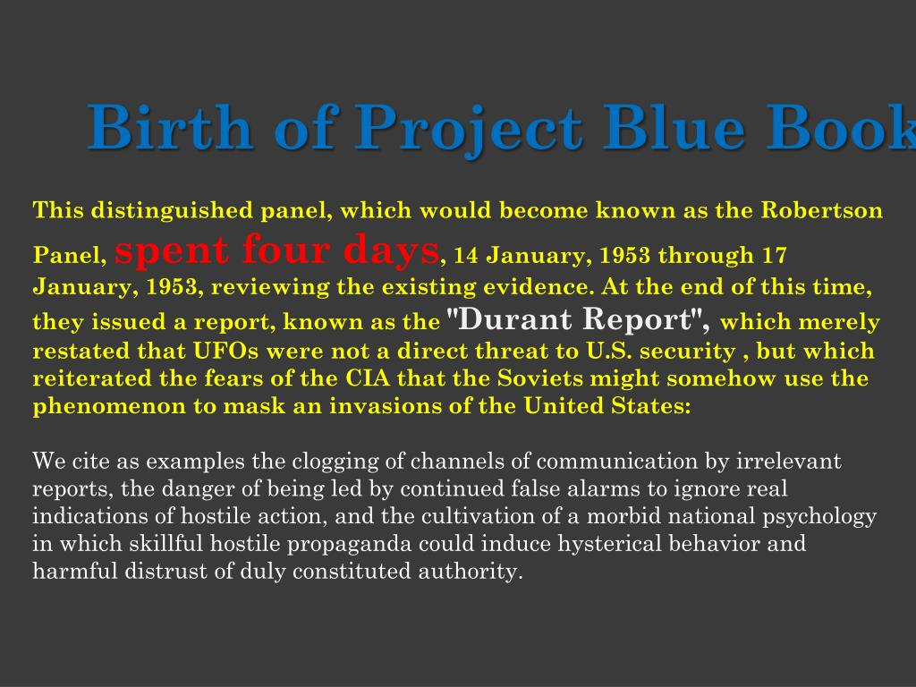 Birth of Project Blue Book