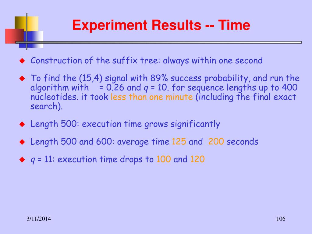 Experiment Results -- Time
