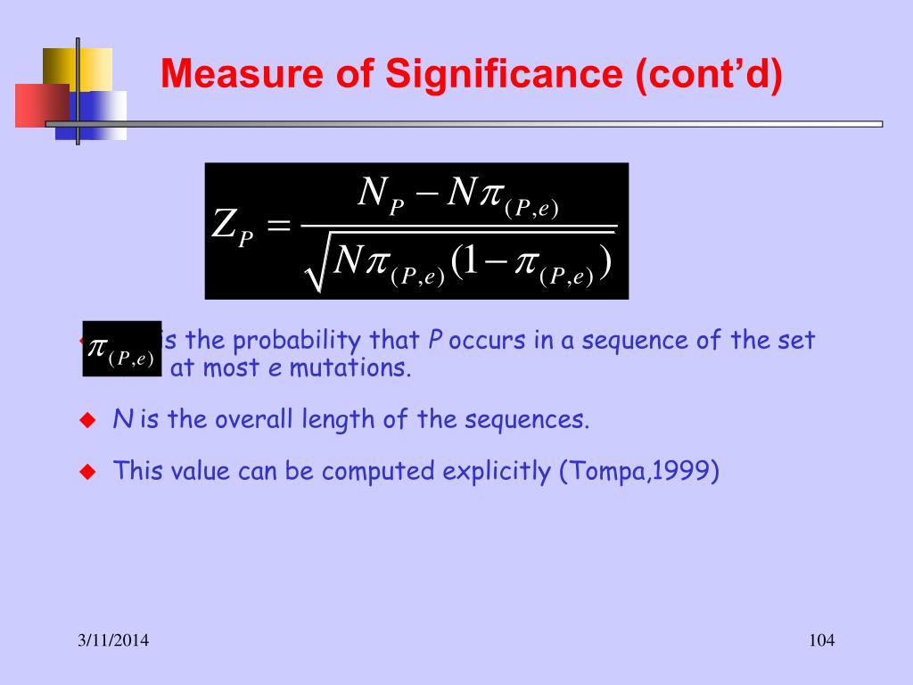 Measure of Significance (cont'd)