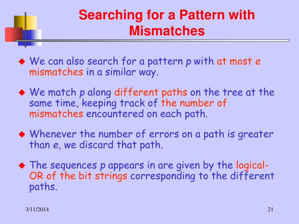 Searching for a Pattern with Mismatches