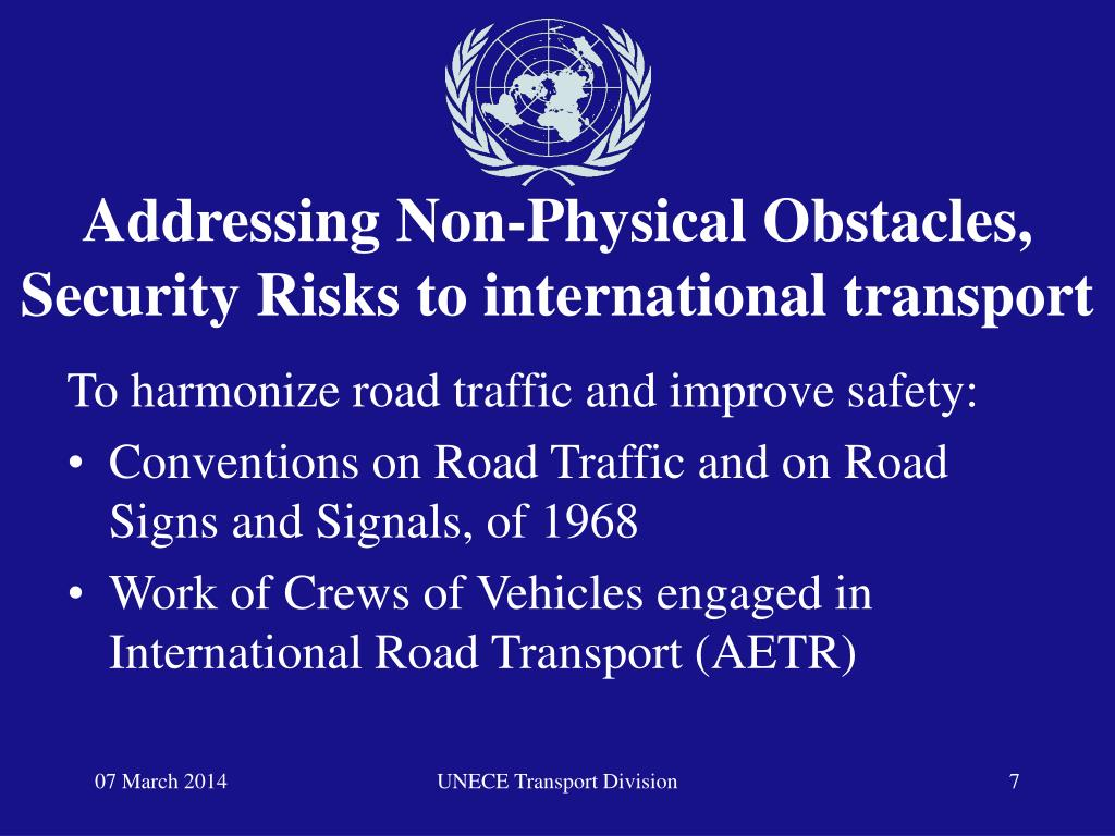 Addressing Non-Physical Obstacles, Security Risks to international transport