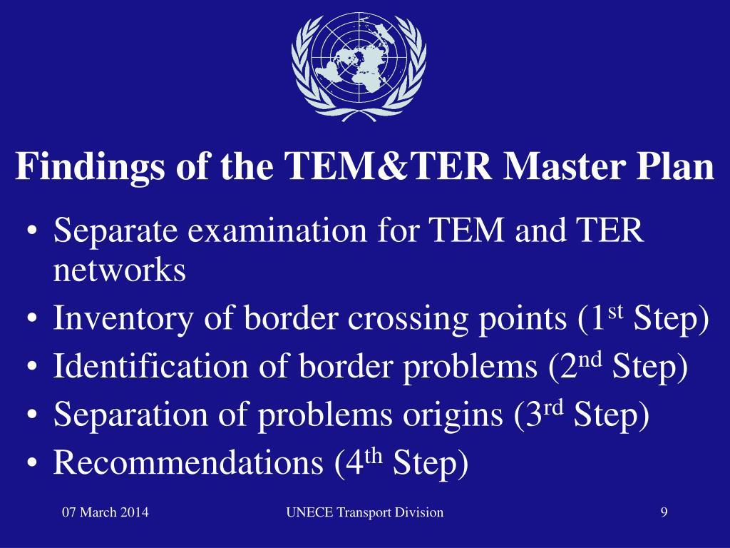 Findings of the TEM&TER Master Plan