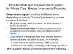 possible modalities of government support for private clean energy investments financing