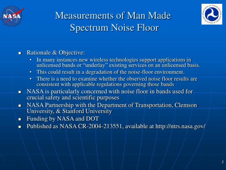 Measurements of man made spectrum noise floor