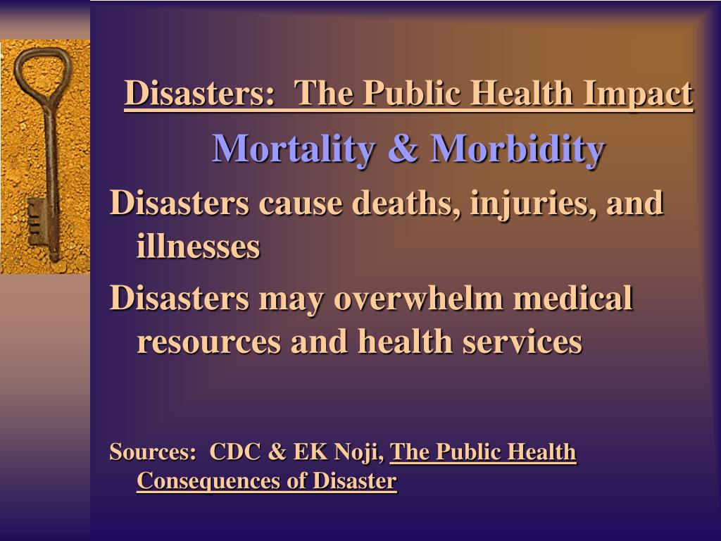 Disasters:  The Public Health Impact