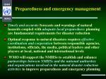 preparedness and emergency management