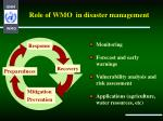 role of wmo in disaster management