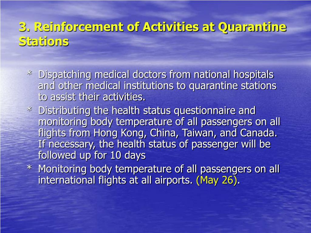 3. Reinforcement of Activities at Quarantine Stations