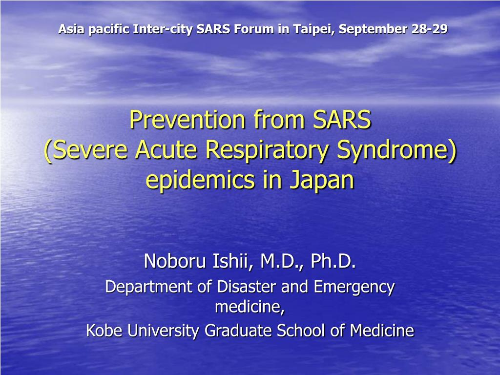 Asia pacific Inter-city SARS Forum in Taipei, September 28-29