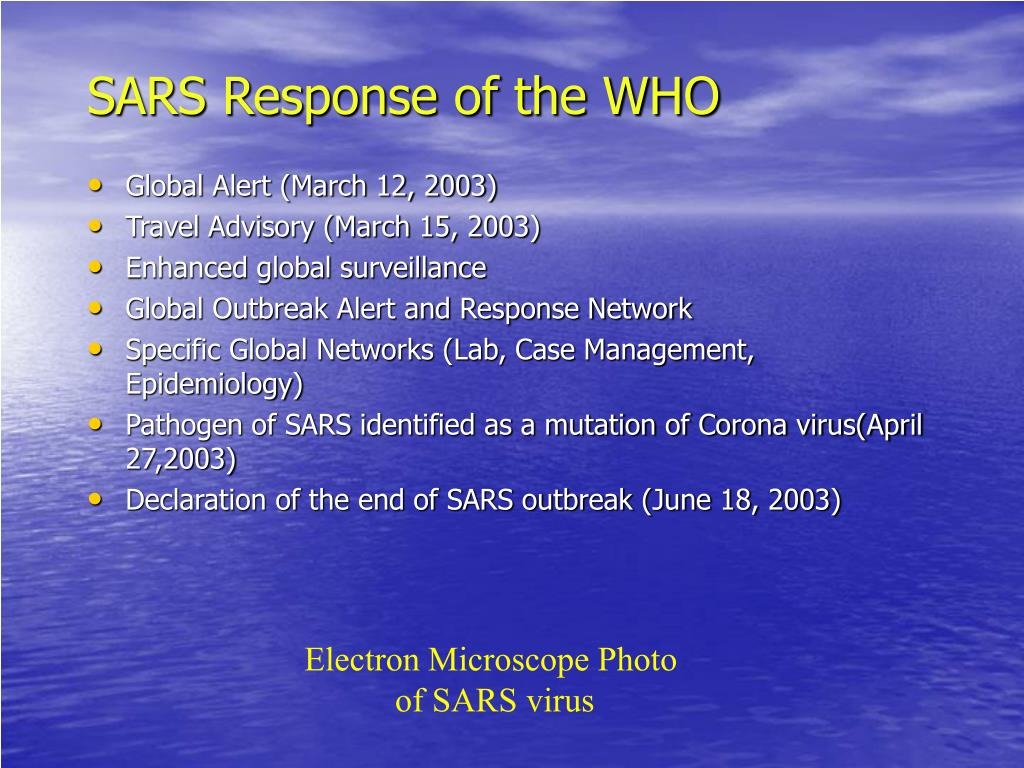 SARS Response of the WHO