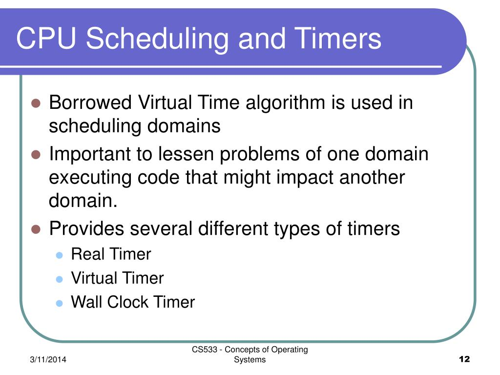 CPU Scheduling and Timers