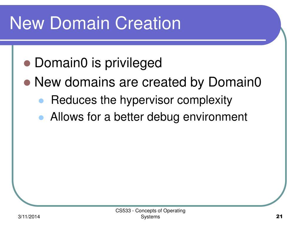 New Domain Creation