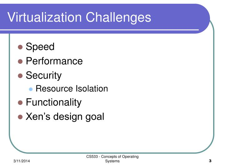 Virtualization challenges