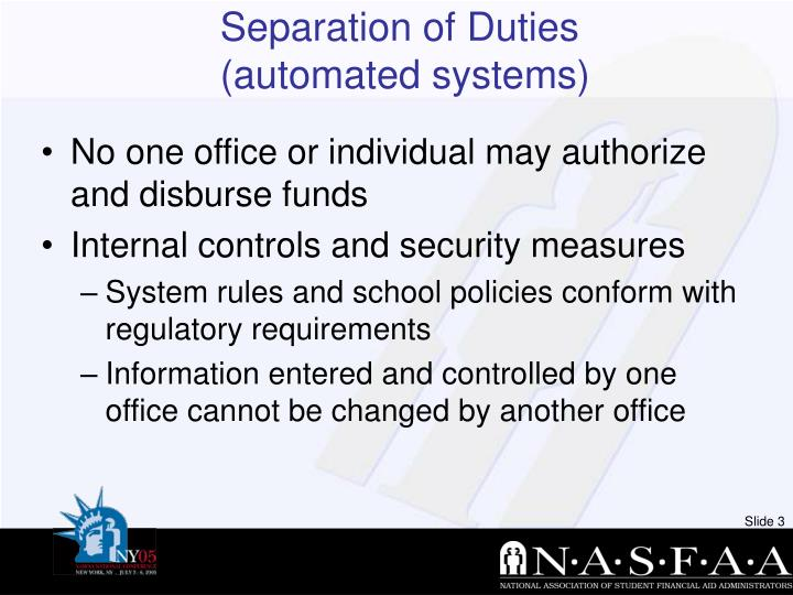 Separation of duties automated systems