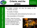 criteria and the prizes