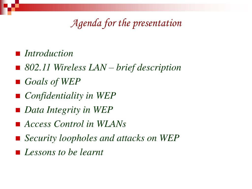 Agenda for the presentation