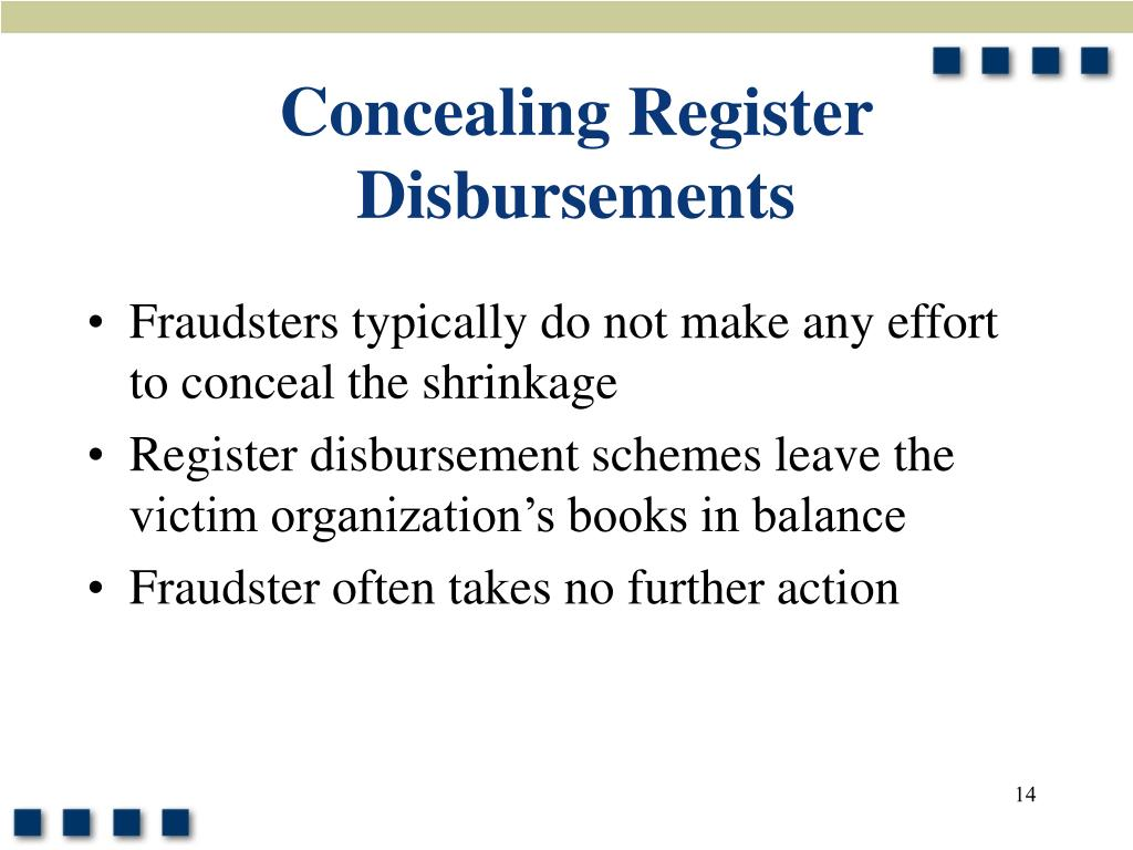 Concealing Register Disbursements