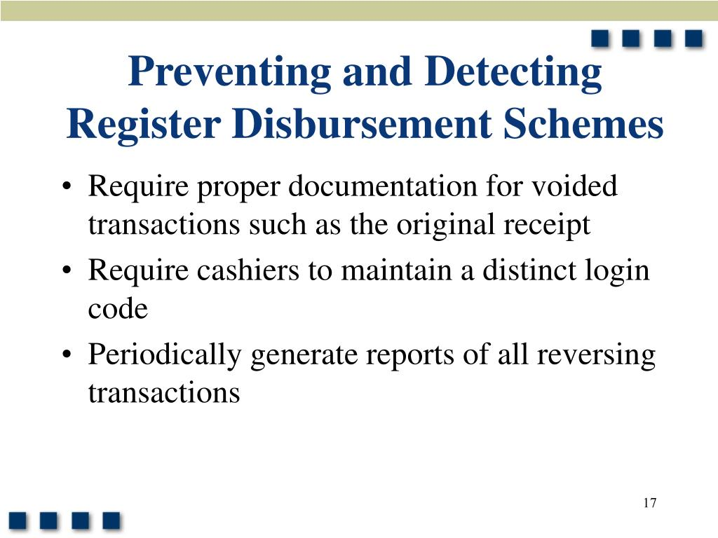 Preventing and Detecting Register Disbursement Schemes