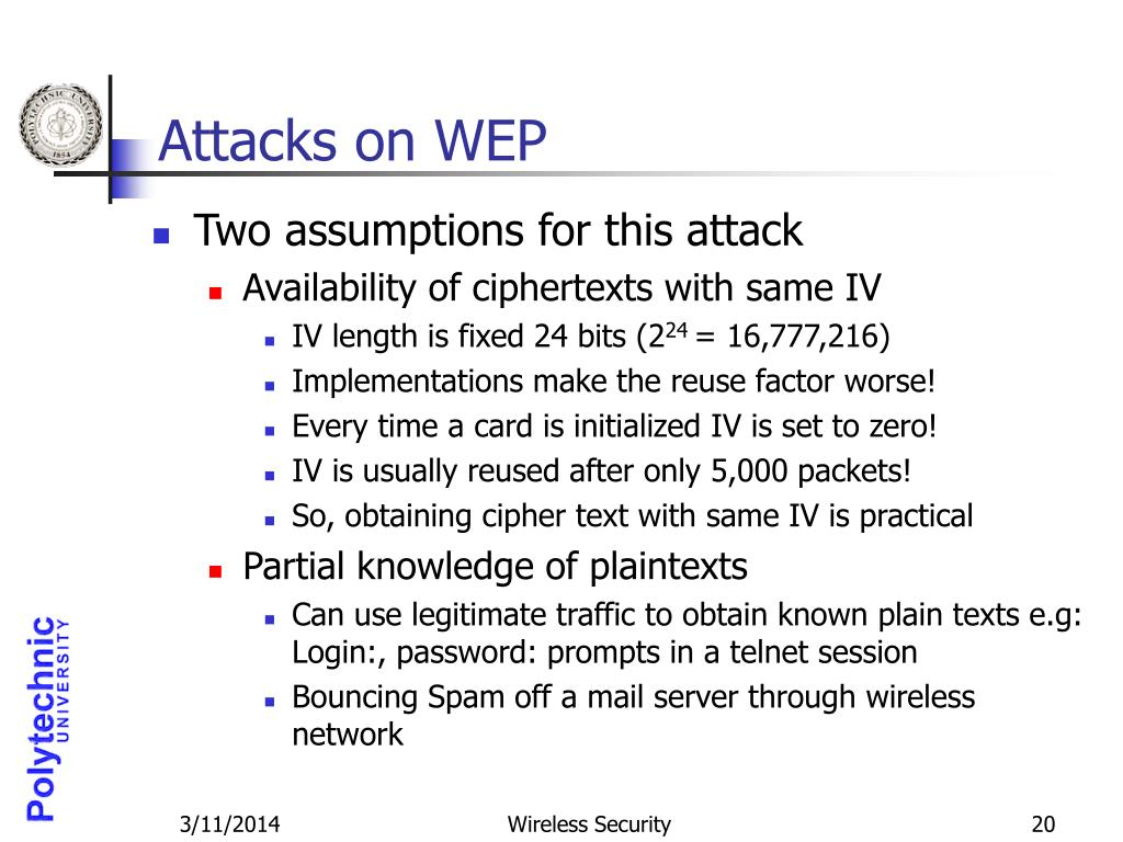 Attacks on WEP