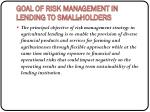 goal of risk management in lending to small holders