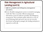 risk management in agricultural lending cont d24