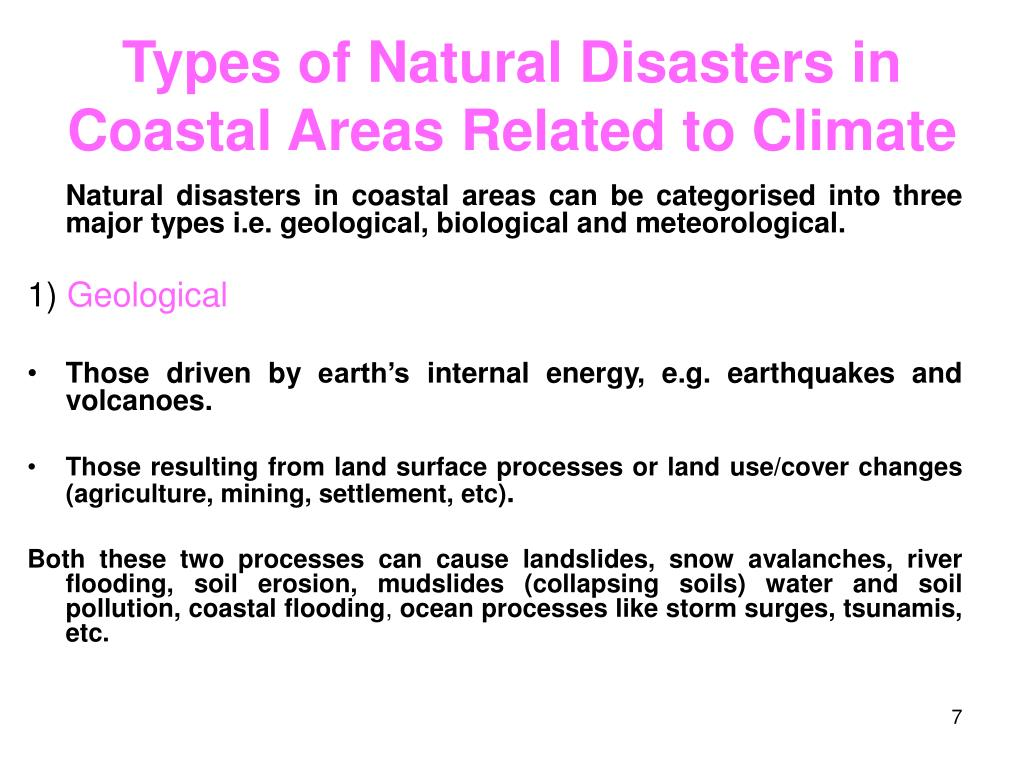 Types of Natural Disasters in Coastal Areas Related to Climate