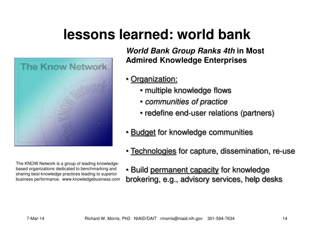 lessons learned: world bank