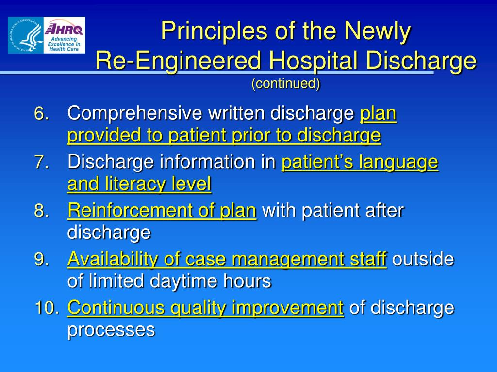 Comprehensive written discharge