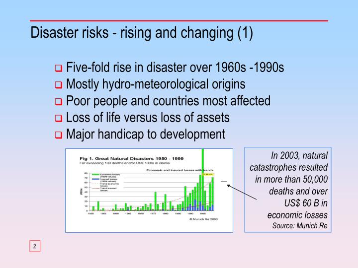 Disaster risks rising and changing 1