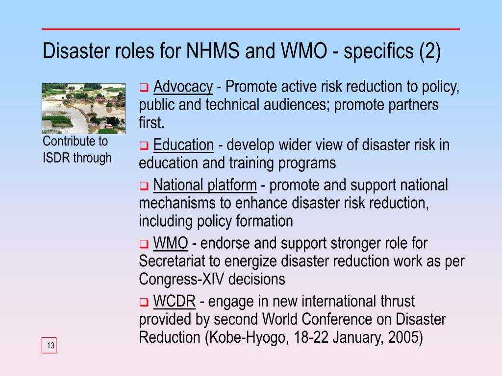 Disaster roles for NHMS and WMO - specifics (2)