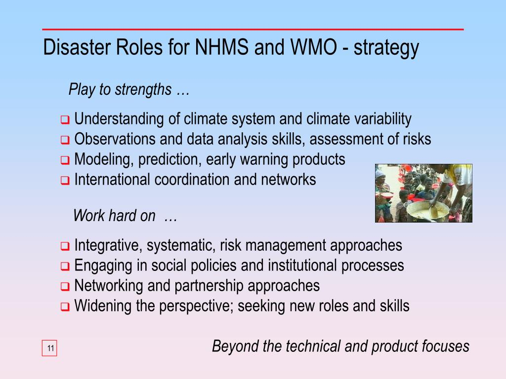 Disaster Roles for NHMS and WMO - strategy