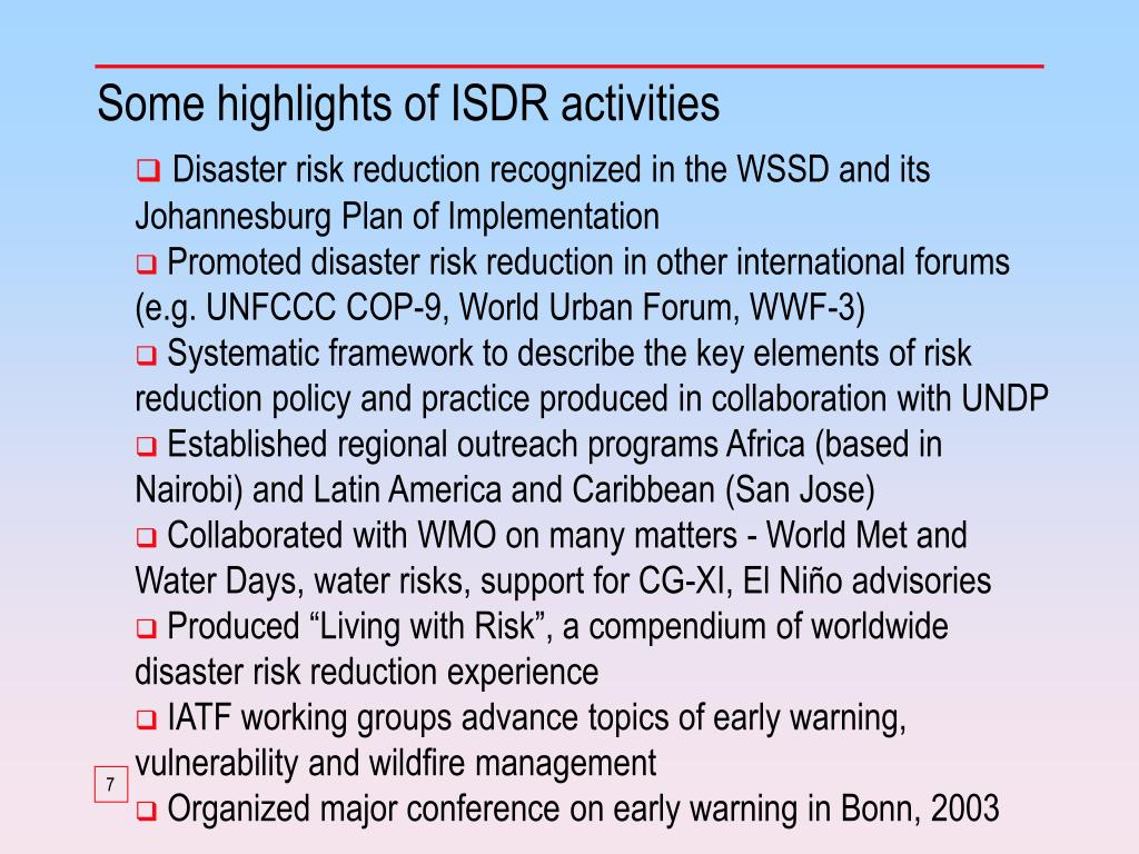 Some highlights of ISDR activities