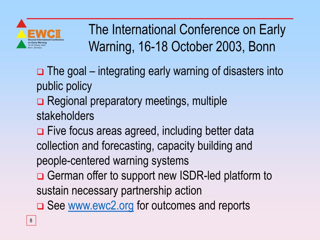 The International Conference on Early Warning, 16-18 October 2003, Bonn