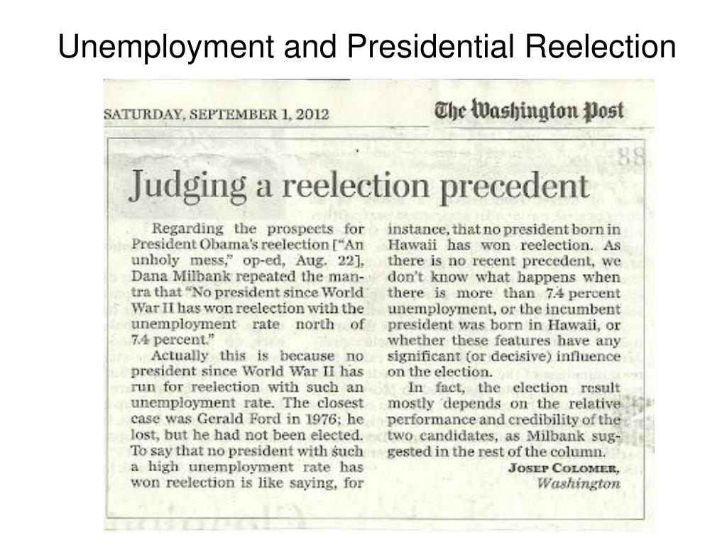 Unemployment and Presidential Reelection