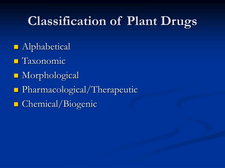 classification of plant drugs n.