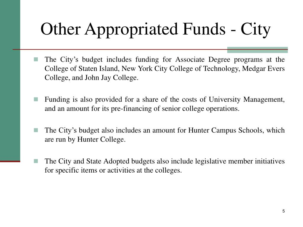 Other Appropriated Funds - City