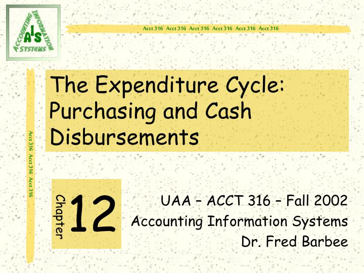 The expenditure cycle purchasing and cash disbursements