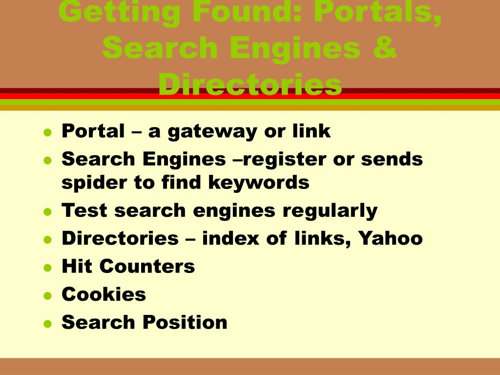 Getting Found: Portals, Search Engines & Directories