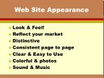 web site appearance