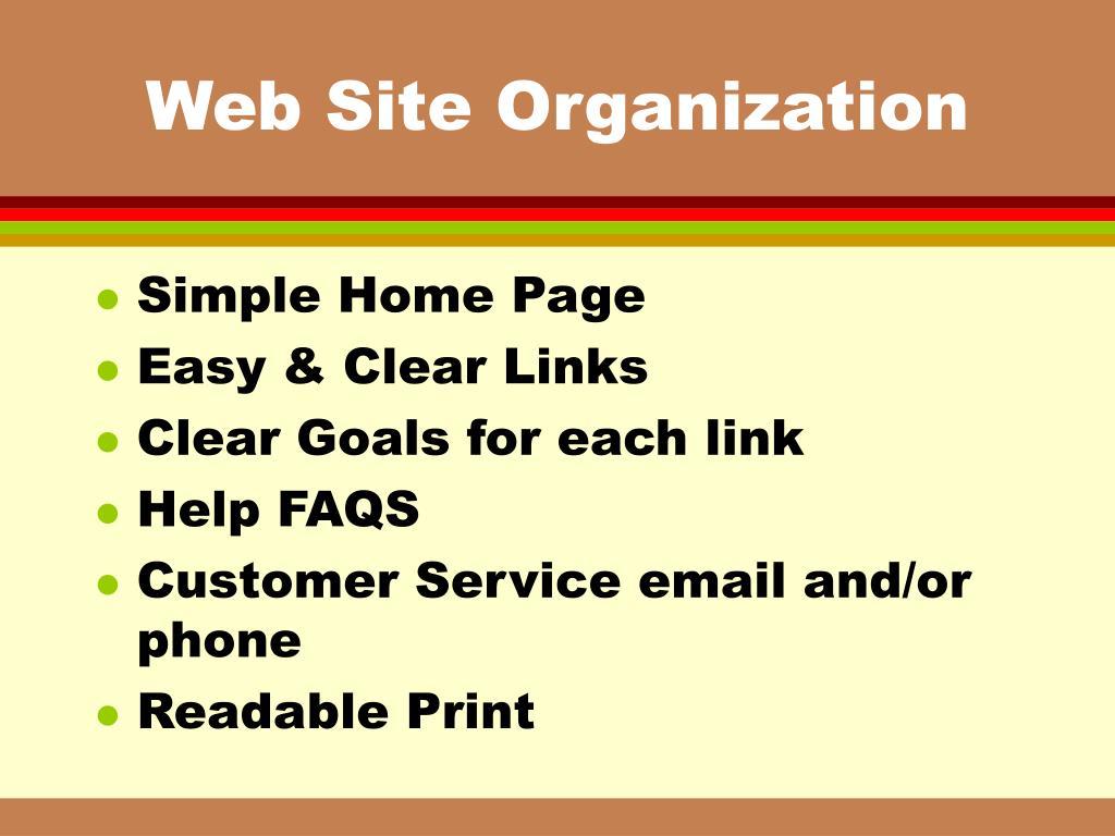 Web Site Organization