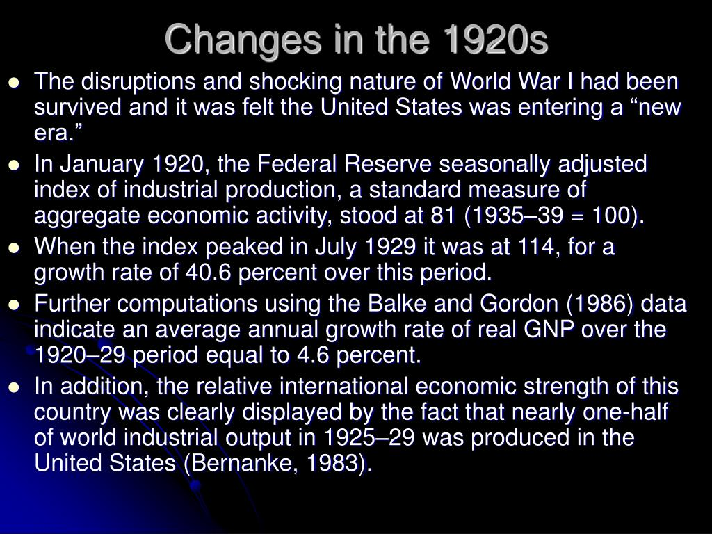 Changes in the 1920s
