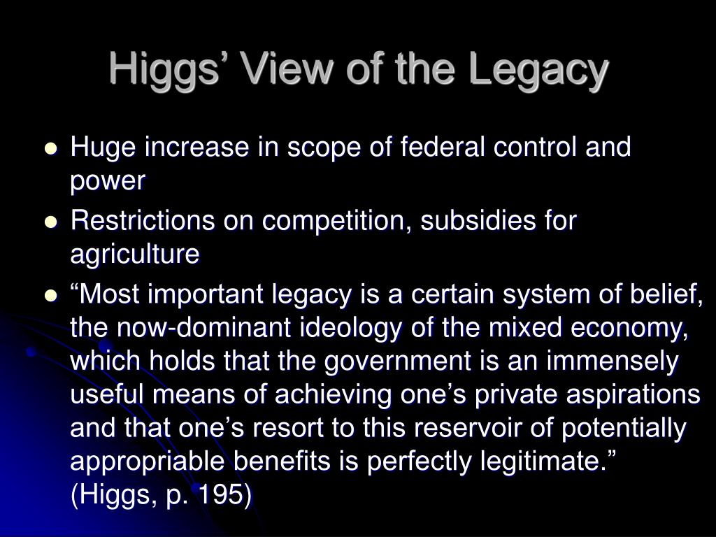 Higgs' View of the Legacy