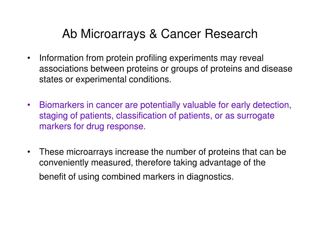 Ab Microarrays & Cancer Research