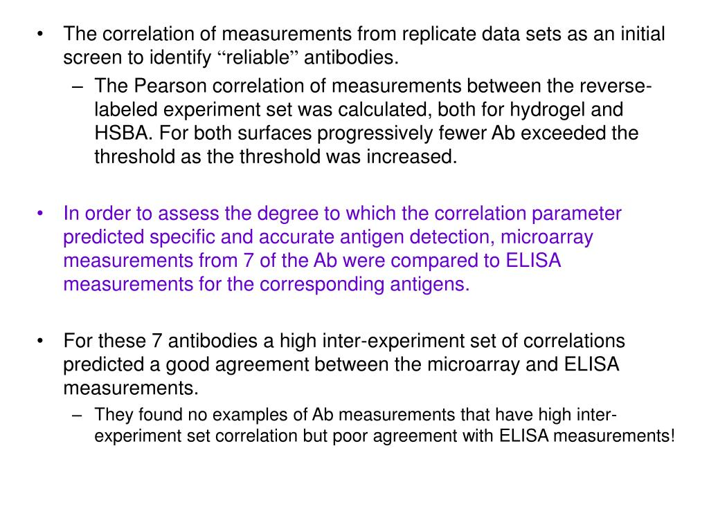 The correlation of measurements from replicate data sets as an initial screen to identify