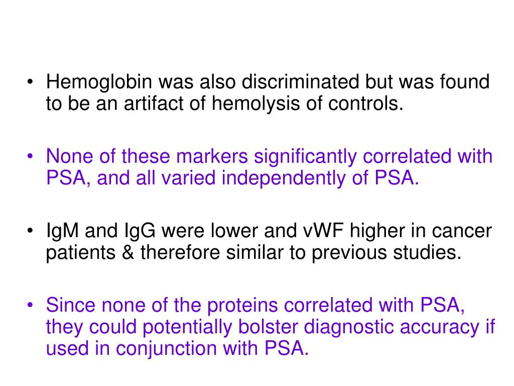Hemoglobin was also discriminated but was found to be an artifact of hemolysis of controls.