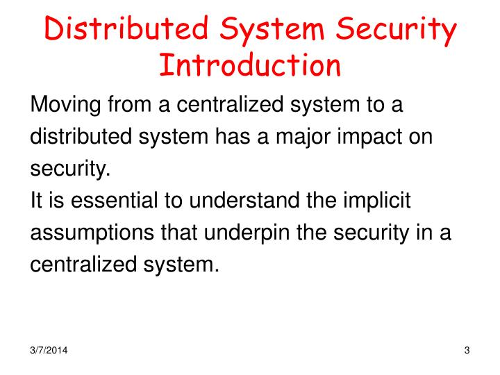 Distributed system security introduction
